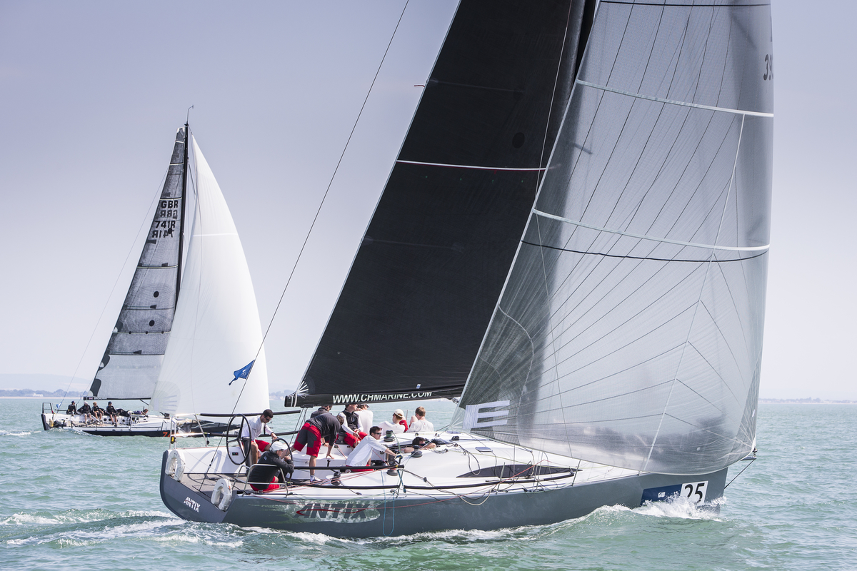 Ireland's Anthony O'Leary's Antix in the first attempt at staging Race 4 in the Brewin Dolphin Commodores' Cup at Cowes.  Photograph: David Branigan/Oceansport
