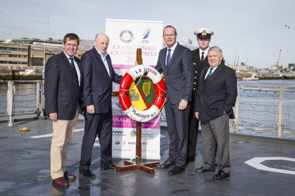 The Sovereigns Cup 2015 was launched on board the Naval Service flagship LE Eithne in Dublin by Simon Coveney TD, Minister for Agriculture, Food, the Marine and Defence (right) pictured with Mike Walsh, Regatta Director Kinsale YC, Norbert Reilly, Commodore Irish Cruiser Racing Association, David Lovegrove ISA President (left) and Ensign Ben Crumplin and . Photo: David Branigan